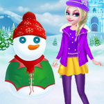 Princess Elsa And Snowman Dress Up